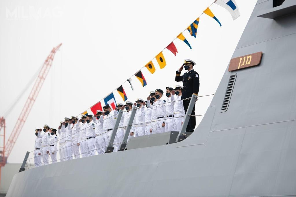Uroczystość przekazania INS Magen. Wgrudniu okręt dotrze doHajfy idopiero tam zostaną nanim zainstalowane systemy bojowe iuzbrojenie / Zdjęcia: Israel Defense Forces