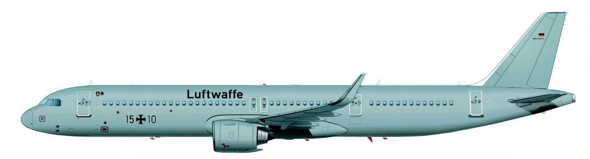 Airbus A321LR został zaprojektowany dowykonywania lotów długodystansowych do7500 km (4200 mil morskich) odługotrwałości 9,5 godzin. Jak dotąd uzyskano ponad 110 zamówień zrynku komercyjnego. Samolot jest częścią rodziny A320neo. / Grafika: Airbus Defence and Space