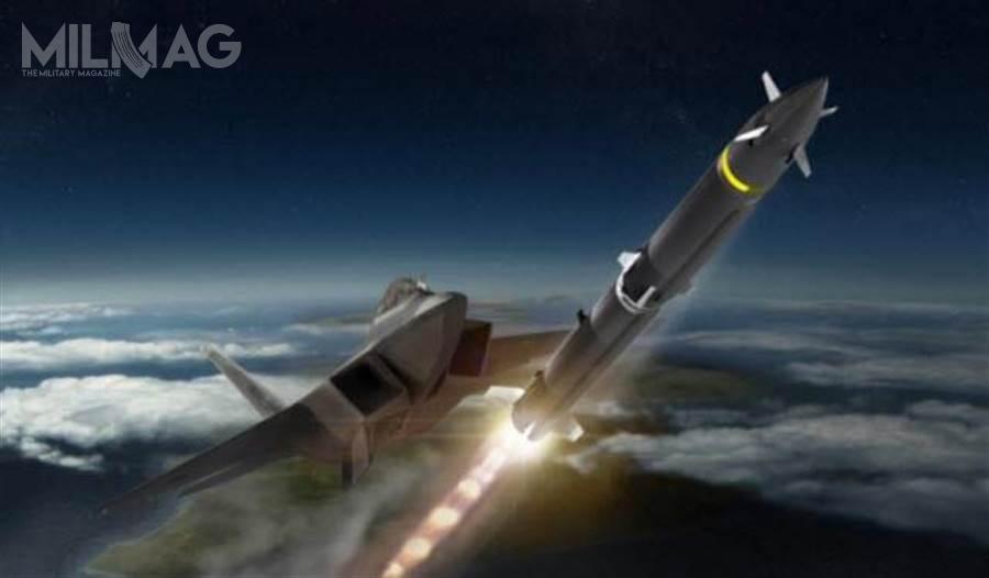 Ujawniona w2017 koncepcja LREW zakładała konstrukcję dwustopniowego pocisku rakietowego dalekiego zasięgu, którymógłby być przenoszony wwewnętrznych komorach uzbrojenia / Grafika: USAF