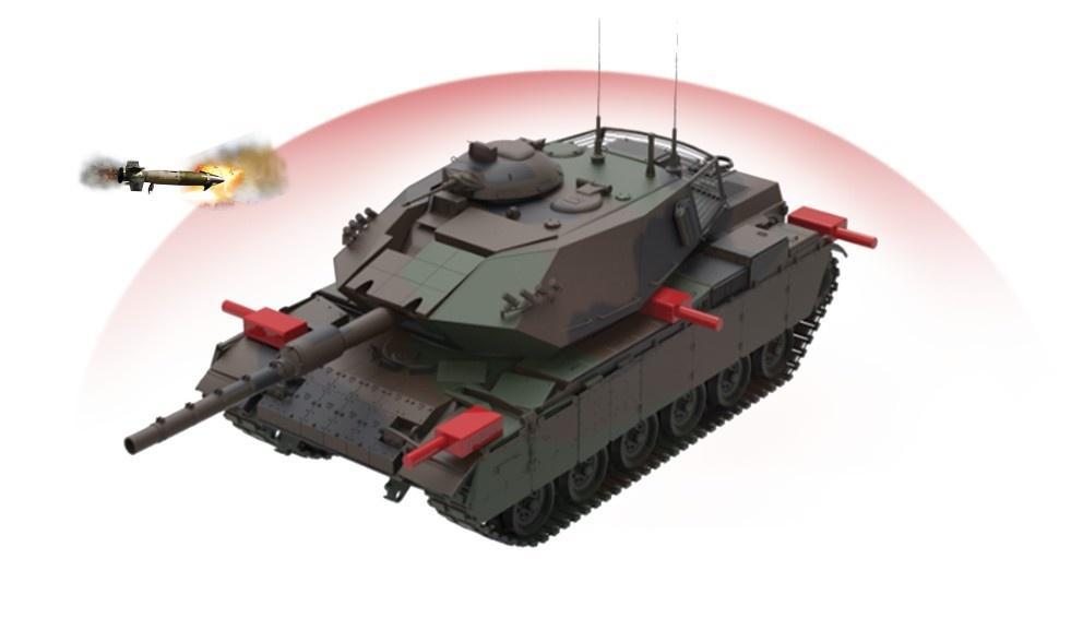 Wizualizacja rozmieszczenia systemu Akkor Pulat naczołgu  M60T Sabra
