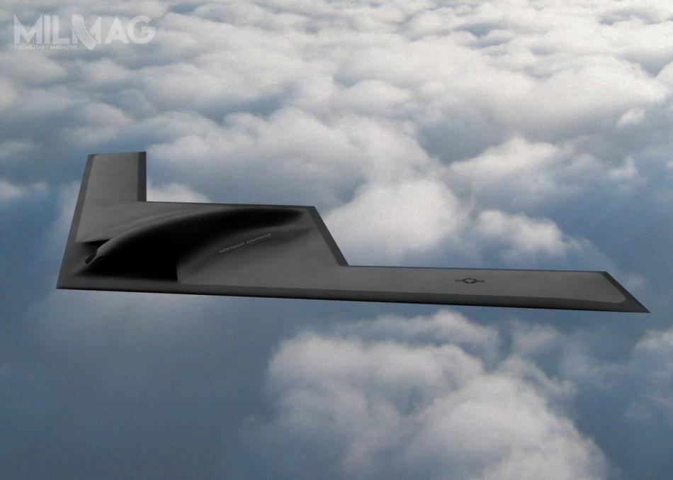 27 października 2015 Departament Obrony podpisał umowę zNorthrop Grumman narealizację programu LRS-B, obejmującą prace badawczo-rozwojowe ipierwszą partię 21 samolotów, odrzucając wstępny projekt Lockheed Martin. Oznaczenie B-21 ujawniono 26 lutego 2016, natomiast nazwę Raider 29 września tego samego roku. /Grafika: Northrop Grumman