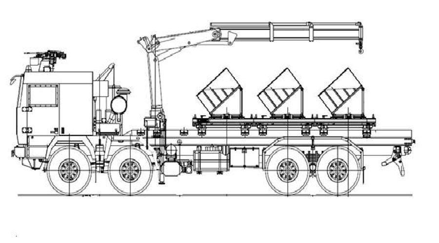 Pojazd ma mieć zabudowany wysięgnik hydrauliczny, umożliwiający montaż idemontaż miotaczy min. Dodatkowo ma być uzbrojony wzdalnie sterowany wielkokalibrowy karabin maszynowy 12,7 mm WKM-B / Grafika: IU MON