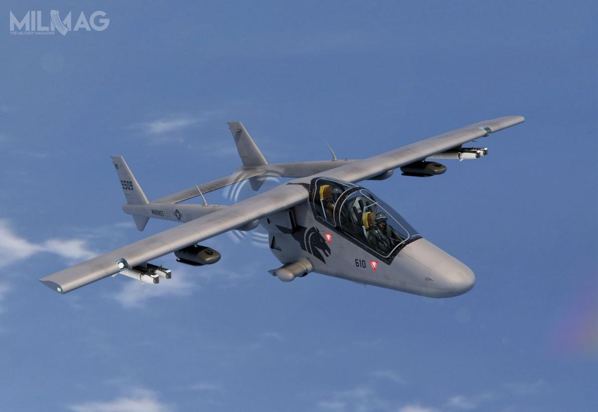 Samolot rozpoznawczo-uderzeniowy BCS USA Bronco II powstał zmyślą oamerykańskich siłach zbrojnych. Przedstawione przezprzedsiębiorstwo wizualizacje przedstawiają go wbarwach Korpusu Piechoty Morskiej (USMC) / Zdjęcia: BCS USA