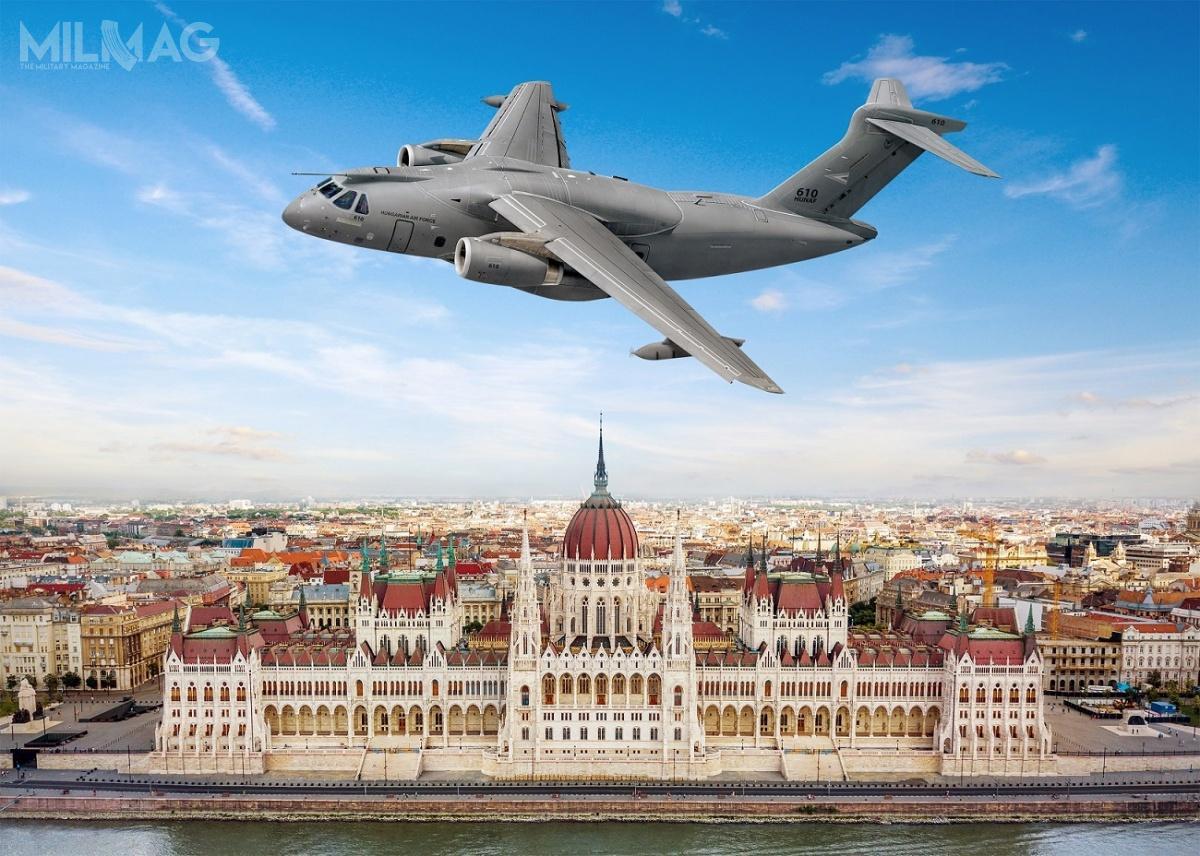 C-390 Millenium ma 33,5 m długości, 33,9 m rozpiętości skrzydeł i11,4 m wysokości. Maksymalna masa startowa to87 t, zczego udźwig wynosi 26 t. Wymiary ładowni to18,5 x 3,0 x 3,4 m. Zasięg przy 23-tonowym ładunku wynosi 2815 km. Napędzany dwoma silnikami turbowentylatorowymi IAE V2500-E5 ociągu 139,4 kN każdy, rozwija prędkość przelotową 870 km/h iosiąga pułap 11 000 m. / Grafika: Embraer