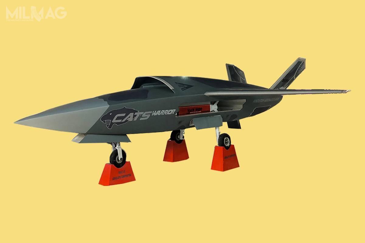 Największy zopracowywanych lojalnych skrzydłowych, CATS Warrior, ma być samodzielnie startującym ilądującym bojowym bezzałogowcem onapędzie odrzutowym, kompozytowej konstrukcji izredukowanym przekroju radarowym / Grafika: Hindustan Aeronautics Ltd