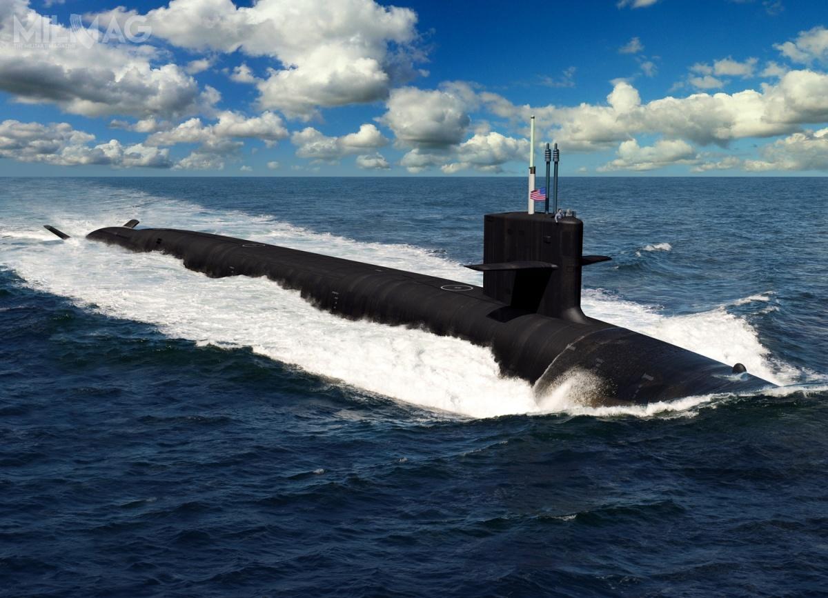 Zgodnie zprojektem, typ Columbia będzie miał 171 m długości, 13 m szerokości i21 144 t wyporności. Będzie uzbrojony jedynie w16 pocisków balistycznych, wprzeciwieństwie do24 przenoszonych przezokręty klasy Ohio. Załoga ma liczyć 155 oficerów imarynarzy. Co ciekawe, jednostki typu Columbia będą pierwszymi wUSA, którychplany zostały opracowane całkowicie zapomocą komputerów / Grafika: NAVSEA