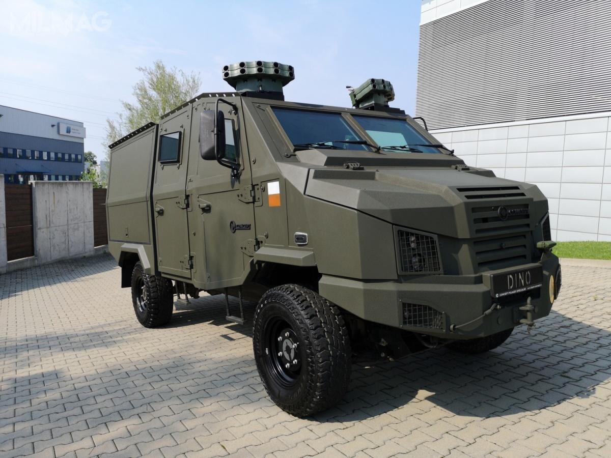 Bielska spółka zaprezentuje również nową wersję pojazdu LTMPAV Dino 519 4x4, wyposażoną m.in.wdwa zestawy wyrzutni granatów dymnych / Zdjecia: Concept