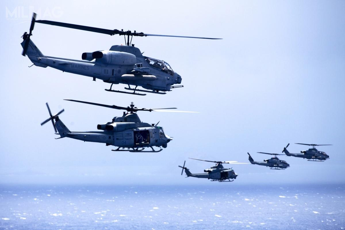 AH-1Z zostały jak dotąd zakupione przezamerykański Korpus Piechoty Morskiej iwprowadzone dosłużby w2010, atakże zamówione przezwojska lotnicze Bahrajnu (12 śmigłowców w2018) iPakistanu (15 w2016). Jedynym użytkownikiem UH-1Y od2008 jest tylkoPiechota Morska. Zakupem wiropłatów obu typów od2017 zainteresowana jest Rumunia / Zdjęcie: Korpus Piechoty Morskiej