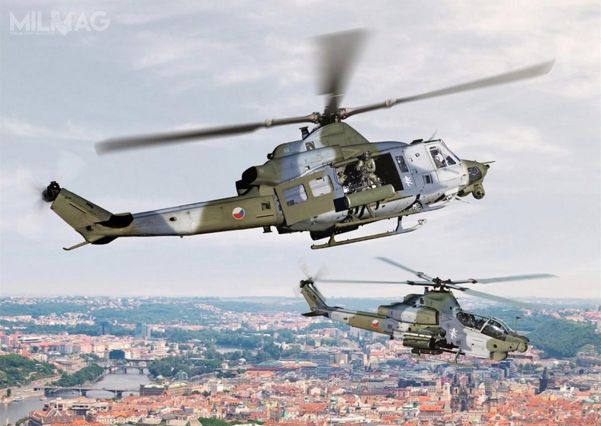 Uderzeniowe AH-1Z Viper iwielozadaniowe UH-1Y Venom zostały opracowane nazlecenie Korpusu Piechoty Morskiej USA wramach programu modernizacyjnego H-1. Wiropłaty, powstałe jako rozwinięcie, odpowiednio, AH-1W SuperCobra iUH-1N Twin Huey, współdzielą 85% komponentów / Grafika: Bell