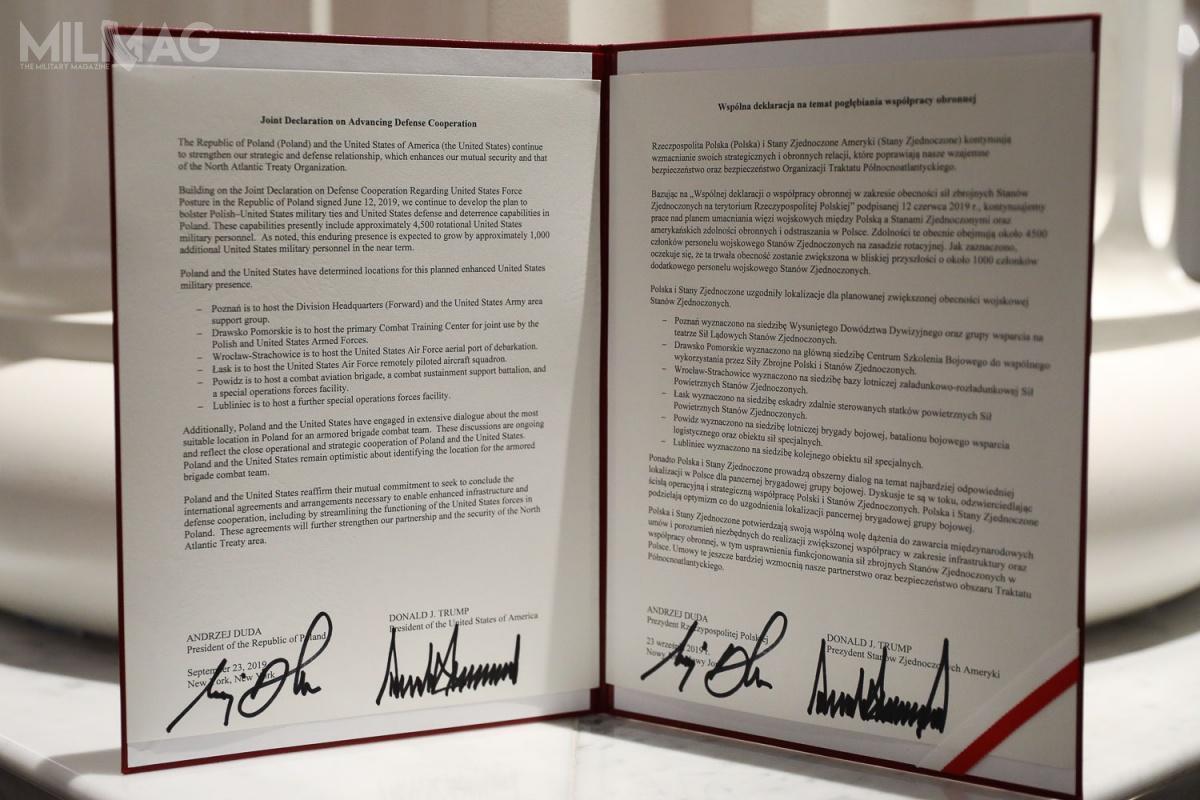 Wspólna deklaracja natemat pogłębienia współpracy obronnej pomiędzy USA aPolską zawiera siedem punktów dotyczących obecności amerykańskich żołnierzy nadWisłą  / Zdjęcia: Jakub Szymczuk, Kancelaria Prezydenta Rzeczypospolitej Polskiej