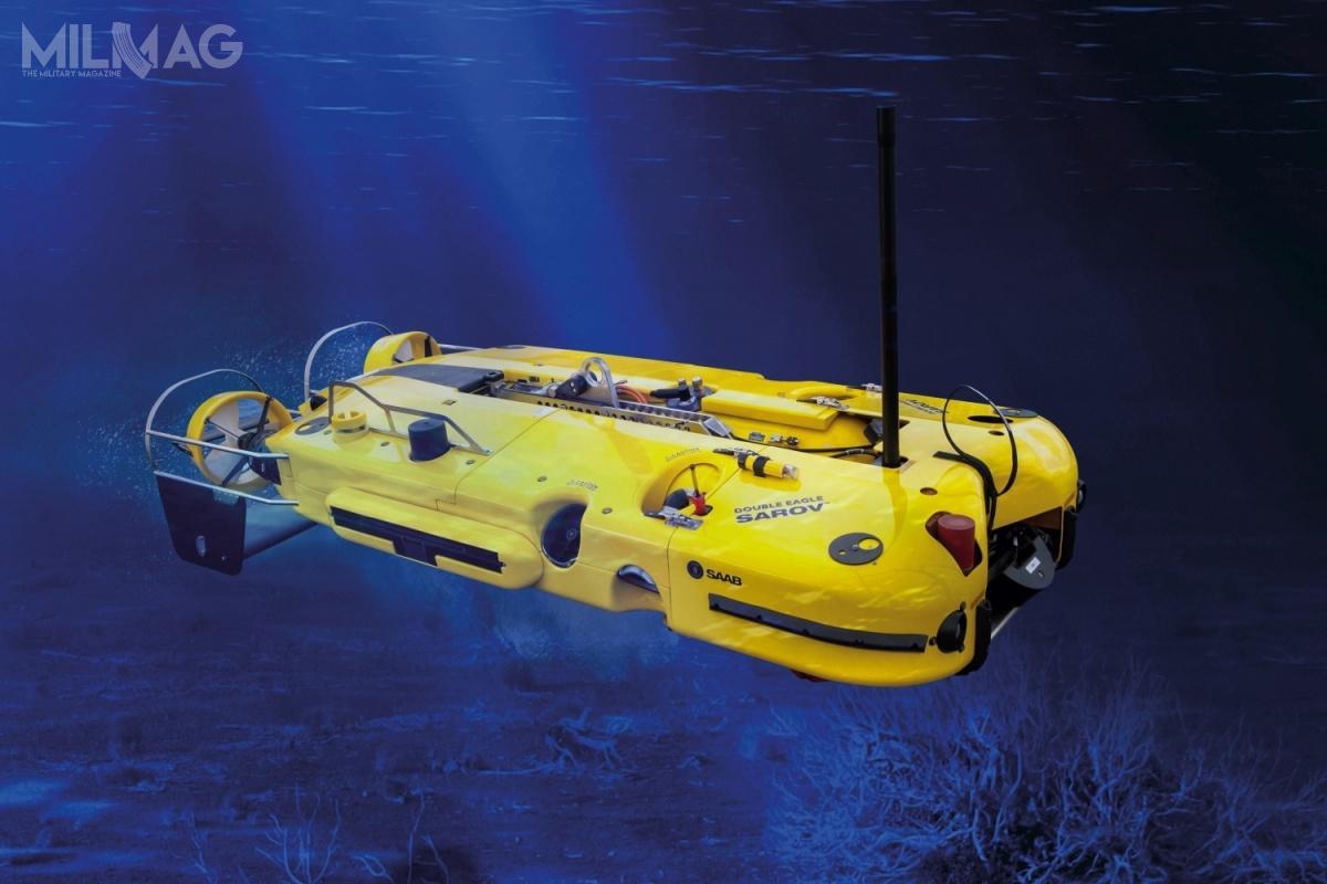 Double Eagle Sarov może zostać wyposażony tak, bydziałać zarówno jako pojazd zdalnie sterowny (Remotely Operated Vehicle, ROV) przy użyciu kabloliny odługości 10 000 m, jak iniezależnie jako autonomiczny pojazd podwodny (Autonomous Underwater Vehicle, AUV), wykorzystując własne zasilanie bateryjne przezponad 10 godzin / Grafika: Saab Defence and Security