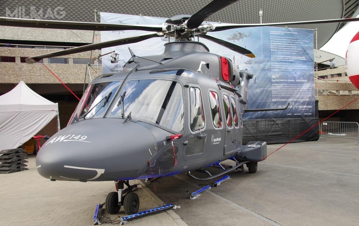 AW149 był oferowany m.in wprzetargu na70, anastępnie 50 śmigłowców wielozadaniowych dla Wojska Polskiego wlatach 2012-2016. Zgodnie zdeklaracją Leonardo, wprzypadku ich wyboru, montaż końcowy miał odbywać się wzakładach PZL-Świdnik / Zdjęcie: PZL-Świdnik