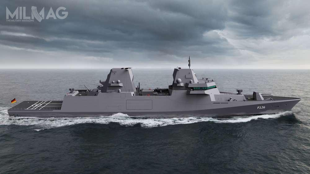 Fregata typu 126 zwypornością ok. 9-10 tys. ton będzie największym okrętem bojowym Deutsche Marine. Pokazuje toznaną oddawna tendencję wzrostu wielkości okrętów wdanej klasie. Pierwsza powojenna niemiecka fregaty typu 120 miała jedynie 2090 ton wyporności standardowej, apoprzedni typ 125 sięgnął 7200 ton / Grafika: ministerstwo obrony Niemiec