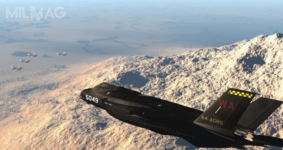 Prezentowany F-35A onrbocznym 5049 otrzymał oznaczenia 64. Eskadry Agresorów. Co ciekawe, wmaju 2018 ujawniono, żewSzkole Powietrznego Uzbrojenia Sił Powietrznych (USAF Air Weapons School, USAFWS), mieszczącej się wNellis, F-35A otrzymał przydomek Panther. / Zdjęcia: 57th Wing Command