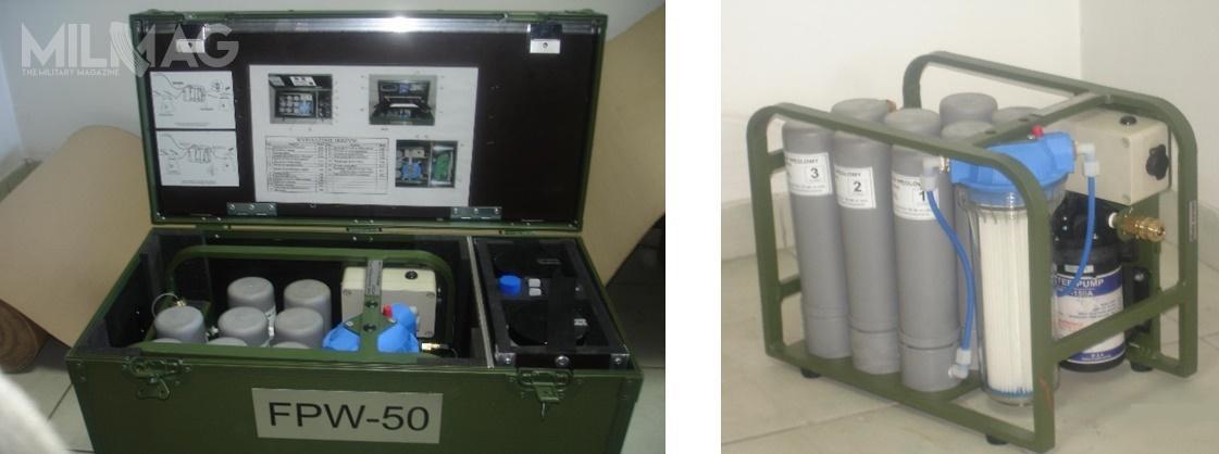 Filtr FPW-50 onominalnej wydajności 50 dm3/h służy dopolowego uzdatniania wód powierzchniowych ipodziemnych docelów spożywczych. Usuwa zwody zanieczyszczenia biologiczne, chemiczne iradioaktywne. Przeznaczony jest dozaopatrywania wwodę pitną niewielkich grup