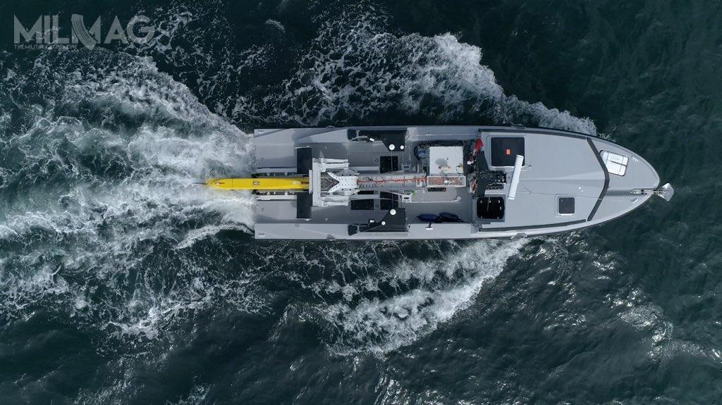 Sonar holowany systemu SLAMF pozwoli nawykrywanie iidentyfikację obiektów 30 razy mniejszych, niż jest toobecnie możliwe przy wykorzystaniu holowników sonarów typu Antarès. Trzykrotnie wzrośnie szybkość mapowania dna morskiego orazgłębokość wykrywania zagrożeń minowych – ze100 do300 m. Ponadto, sygnatury akustyczne, magnetyczne ielektryczne zostały wszystkich elementów systemu zostały maksymalnie zredukowane. Będzie także możliwe rozmieszczenie SLAMF wdowolnym rejonie globu wciągu 48 godzin / Zdjęcia: Ministerstwo sił zbrojnych Francji