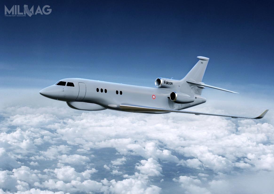 Trzy strategiczne samolotów rozpoznawcze, które powstaną wramach programu ARCHANGE, zostaną zabudowane woparciu opłatowce Dassault Falcon 8X iod2025 będą zastępować dwa zmodyfikowane samoloty rozpoznania elektronicznego Transall C-160G Gabriel / Grafika: DGA