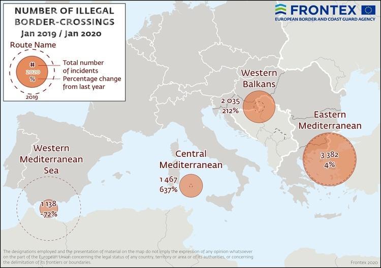 W pierwszym miesiącu 2020 roku europejskie służby celne odnotowały około 8800 prób nielegalnego przekroczenia zewnętrznych granic Unii Europejskiej / Zdjęcie igrafika: Frontex