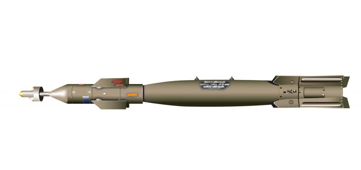 GBU-12 Paveway tobazujący na227-kg bombie Mark 82 zestaw zpółaktywną laserową głowicą naprowadzającą ipowierzchniami sterowymi dokorygowania jej lotu (wtejwersji tostateczniki składane). Jest produkowany przezRaytheon iLockheed Martin / Zdjęcie: Jason Goins/USAF