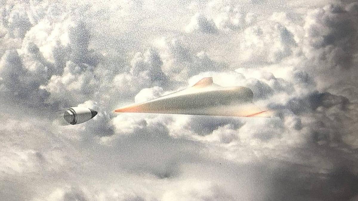 Opublikowana podczas D60 Symposium grafika zefektorem Glider Breaker ukazuje moment przechwycenia typu hit-to-kill hipersonicznego pojazdu szybującego. /Grafika: DARPA