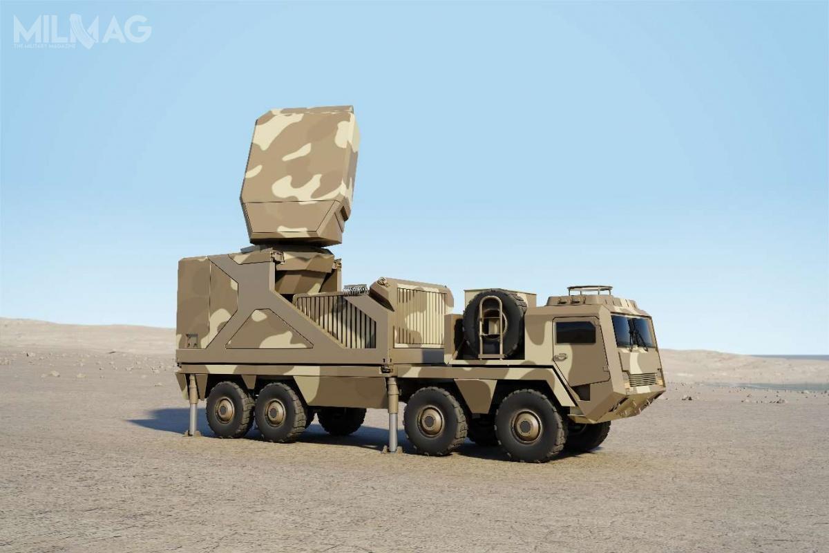 Radiolokator nowej generacji GF400 zostanie zintegrowany zpodwoziem kołowym owysokiej mobilności. Przejście zpozycji marszowej dopozycji bojowej zajmie mniej niż 15 minut. Zestaw będzie zdolny dotransportu drogą powietrzną. Ponadto, będzie możliwość integracji radaru zinnymi platformami. / Grafika: Thales