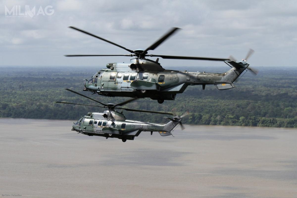 Brazylijskie wojska lotnicze ilądowe, atakże marynarka wojenna otrzymają łącznie 50 śmigłowców wielozadaniowych H225M Caracal, wyprodukowanych lokalnie wzakładach spółki Helibras wmiejscowości Itajubá.
