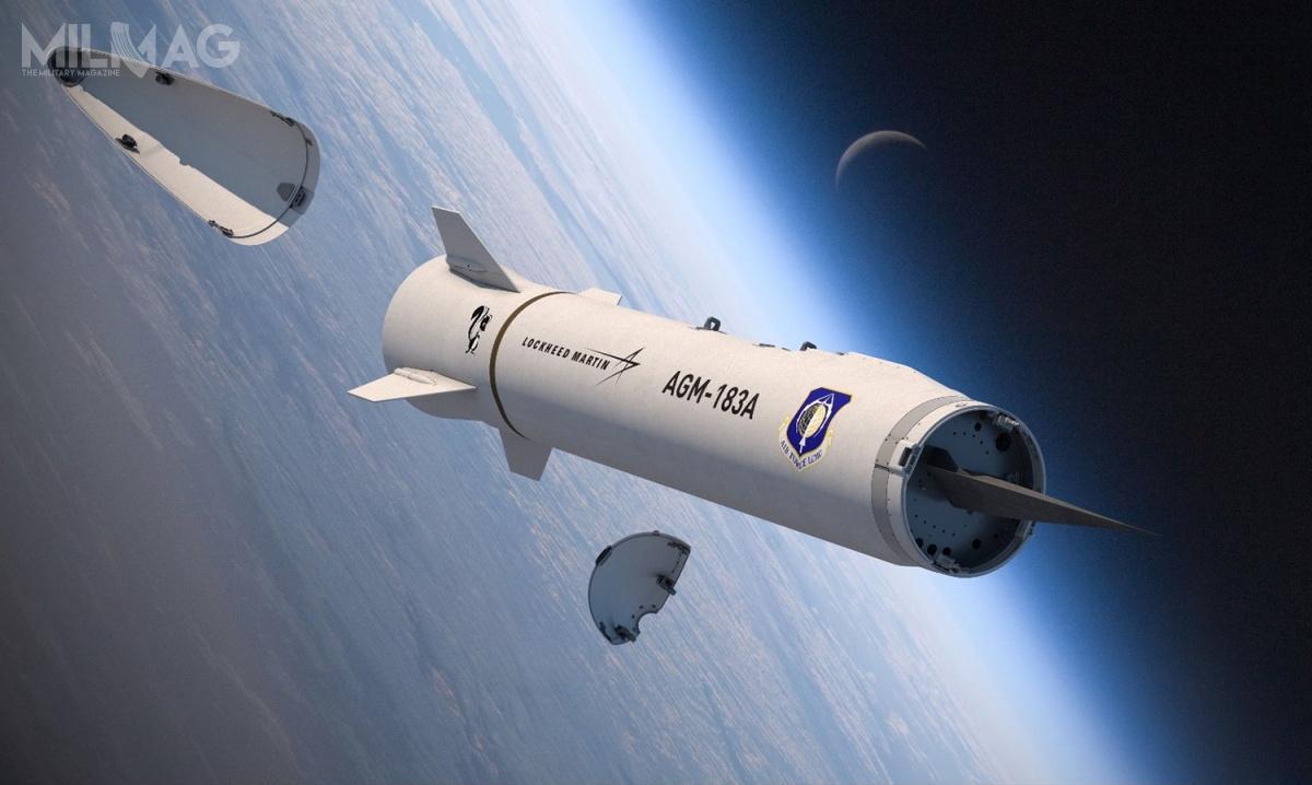 13 sierpnia 2018 Lockheed Martin otrzymał 480 mln USD (2mld zł) narozpoczęcie prac badawczo-rozwojowych nadpociskiem hipersonicznym AGM-183A wramach programu Air-launched Rapid Response Weapon / Grafika: Lockheed Martin