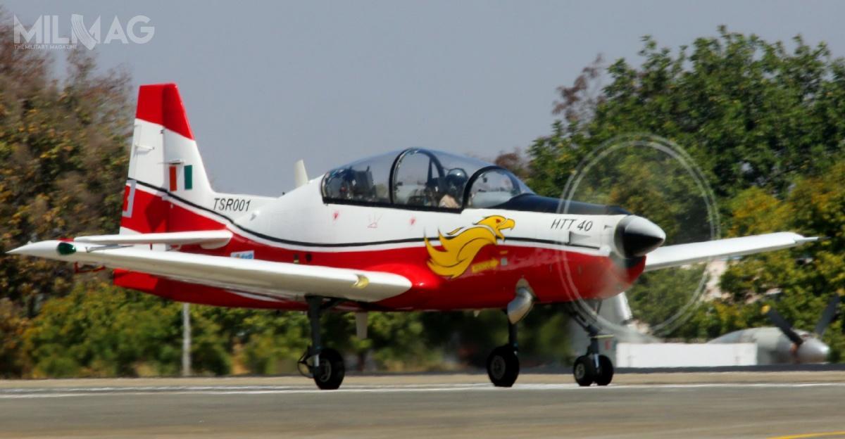 Indyjski samolot szkolenia podstawowego HTT-40 jest napędzany pojedynczym silnikiem turbośmigłowym Honeywell Garrett TPE331-12B omocy 1100 KM, któryzostał wybrany 21 czerwca 2015. Samolot ma 11 m rozpiętości skrzydeł, 10,5 m długości imaksymalną masę startową 2800 kg. Zasięg wynosi 1000 km, aprędkość maksymalna 450 km/h. Opcjonalnie może przenosić uzbrojenie wpostaci działka lub bomb/rakiet niekierowanych nademontowalnych węzłach podskrzydłowych / Zdjęcie: Ministerstwo obrony Indii