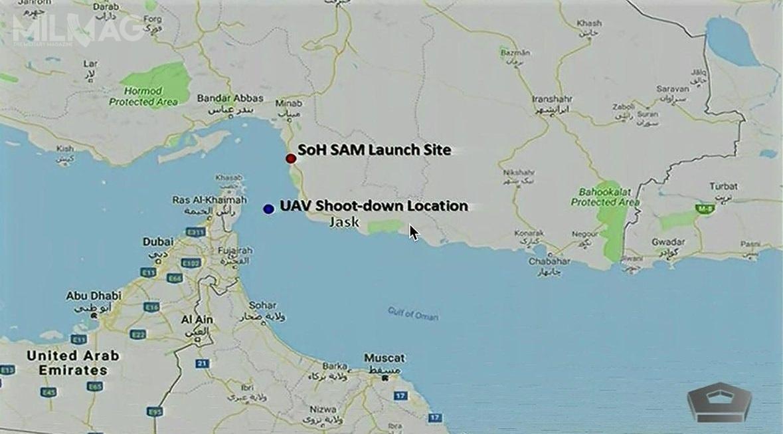 Amerykanie twierdzą, żedoutraty RQ-4A doszło 34 kilometry odirańskiego wybrzeża. Pozostałości bezzałogowca mają znajdować się wwodach międzynarodowych gdzie zostały wysłane amerykańskie okręty. /Zdjęcie: US DoD