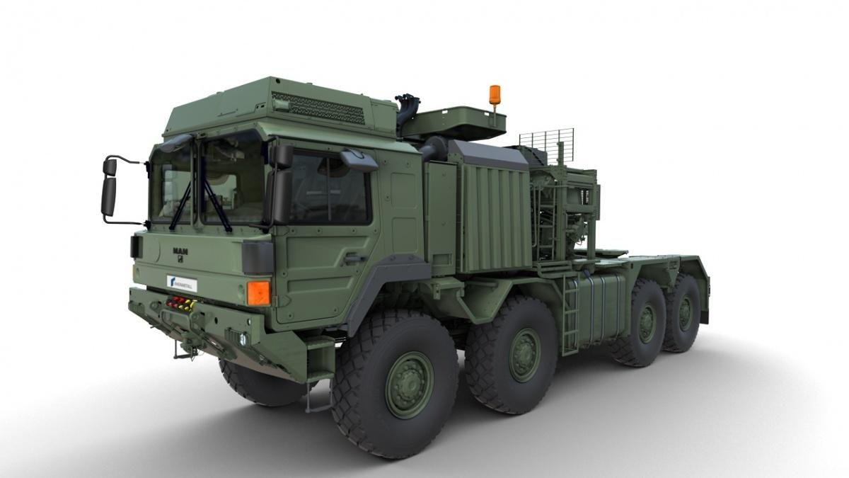 Niemieckie wojska lądowe otrzymają kolejną partię 48 nieopancerzonych ciężkich zestawów transportowych RMMV HX81 SaZgM Elefant 2dotransportu m.in.czołgów Leopard 2czysamobieżnych armatohaubic PzH 2000 / Grafika: Rheinmetall AG