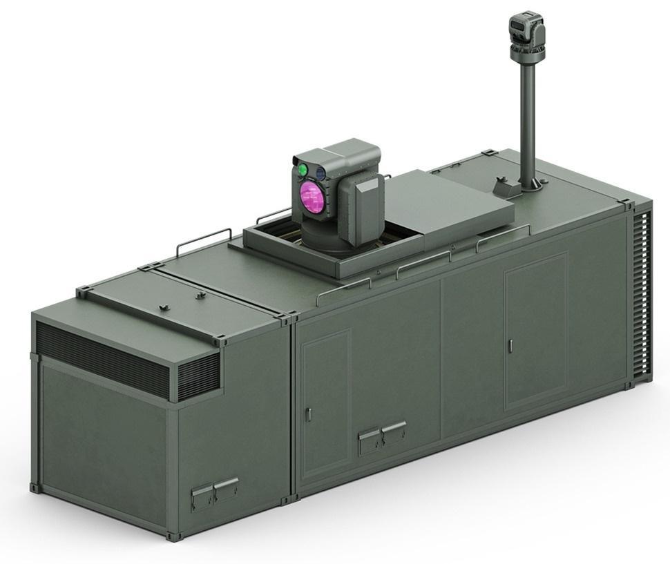 Podobnie jak wprzypadku prototypów rozwijanych winnych państwach, południowokoreański system laserowy będzie zabudowany woparciu okontener ISO, którybędzie zawierał prawdopodobnie źródła zasilania ichłodzenia, głowicę optoelektroniczną układu śledzenia wraz orazemiter naprowadzania wiązki lasera wysokiej energii / Grafika: DAPA.