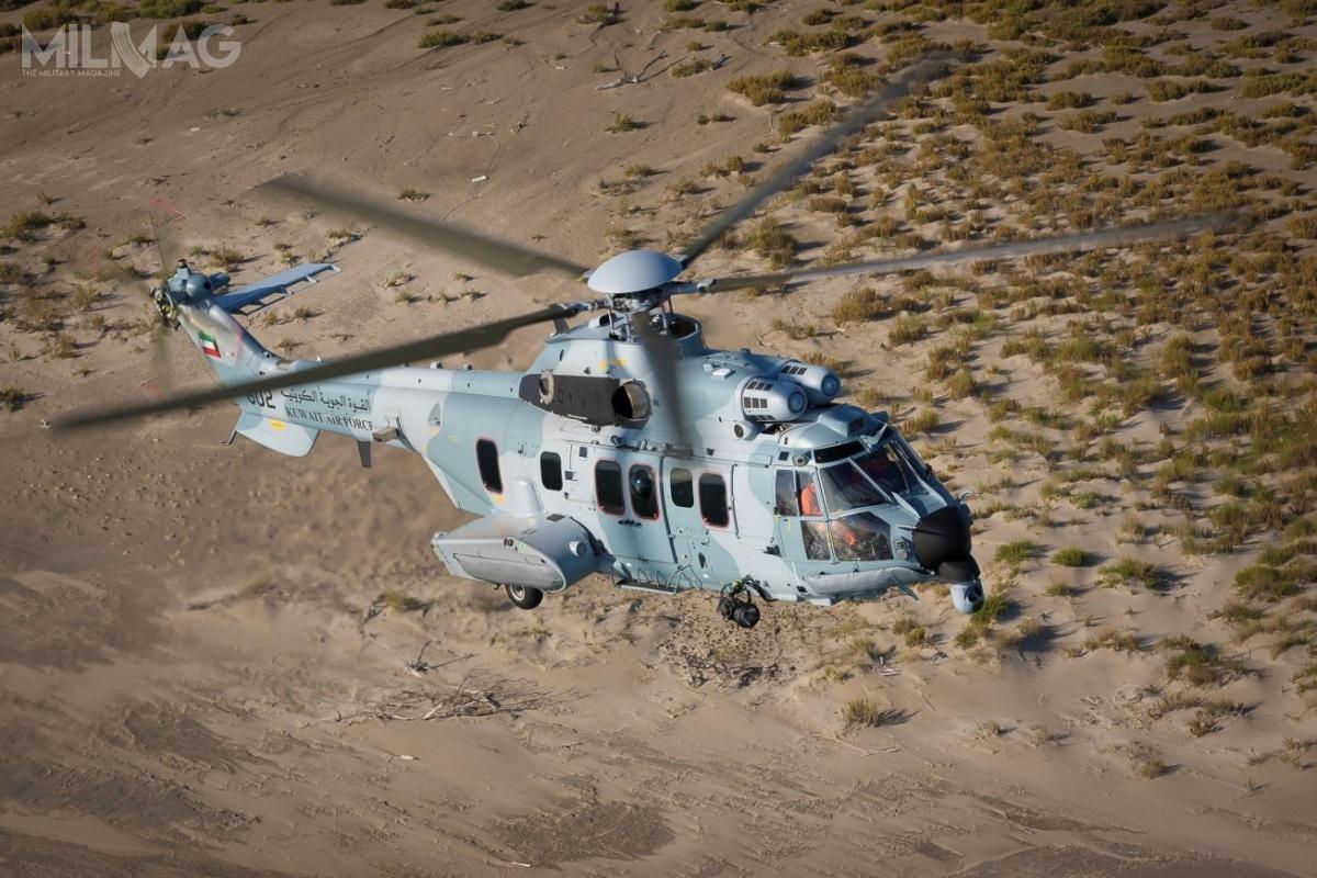 9 sierpnia 2016 Ministerstwo Obrony Kuwejtu zamówiło zarównowartość 1,07 miliarda euro (4,59 mld zł) trzydzieści śmigłowców H225M Caracal dla wojsk lotniczych ilotnictwa gwardii narodowej dozadań poszukiwawczo-ratowniczych, działań morskich idotransportu wojsk. Wojska lotnicze mają nawyposażeniu 11 śmigłowców Aérospatiale SA330 Puma iEurocopter AS332 Super Puma oraz14 Aérospatiale SA342 Gazelle / Zdjęcie: Airbus Helicopters