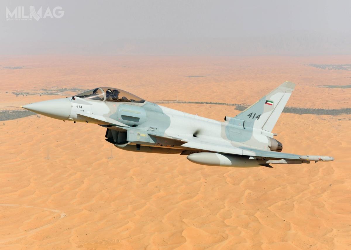Oprócz Typhoonów, wmarcu 2018 Kuwejt zamówił także 28 egzemplarzy amerykańskich samolotów wielozadaniowych Boeing F/A-18E/F Super Hornet (zelementami wersji Block III) zopcją na12 kolejnych zarównowartość 1,16 mld USD (4,45 mld zł) – bezuwzględnienia pakietu wyposażenia, wsparcia iszkolenia. Obecnie wojska lotnicze tego państwa użytkują 27 F/A-18C Hornet / Zdjęcie: Eurofighter