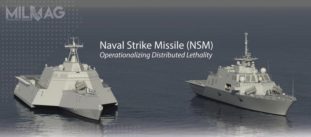 Pociski przeciw-okrętowe NSM zostaną posadowione napokładach fregat rakietowych LCS typu Independence (polewej) iFreedom