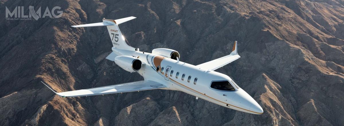 Learjet 75 Liberty, produkowany przezkanadyjską spółkę Bombardier Aerospace, ma 17,7 m długości, 15,5 m rozpiętości skrzydeł i4,5 m wysokości. Maksymalna masa startowa to9752 kg. Samolot jest napędzany dwoma silnikami turbinowymi Honeywell TFE731-40BR ociągu 17,1 kN każdy. Zapewniają one prędkość maksymalną do861 km/h orazzasięg do3780 km napułapie do16 tys. m. Samolot wyposażono wawionikę Garmin G5000, radiostację HF, łączność klasy CPDLC zapomocą łącza danych isystem nawigacji FANS-1/A+ / Zdjęcie: Bombardier Aerospace