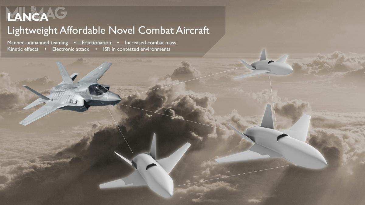 Zaprezentowana podczas Royal International Air Tattoo 2019 wRAF Fairford  grafika przedstawia F-35B współpracujący ztrzema bbsl LANCA/Mosquito. / Grafika: DSTL