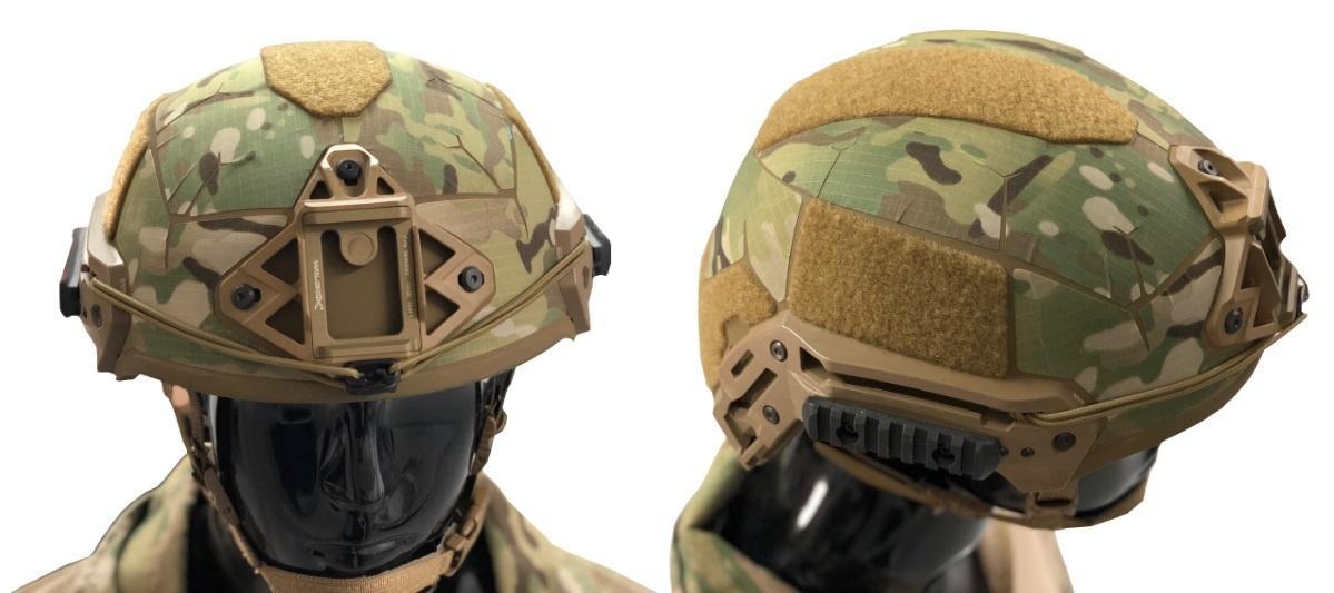 Zestaw naklejek Matbock Skin nałożony nahełm balistyczny Team Wendy EXFIL Ballistic Helmet. Wykonano je zmateriału Ghost, odpornego narozdarcie, strzępienie inarozciąganie wtrakcie nakładania ipodczas usuwania zmiejsca naklejenia