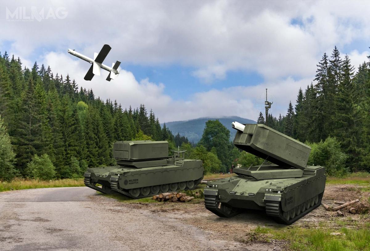 Pierwsza propozycja przedstawia prototyp niedawno ukończonego bojowego pojazdu bezzałogowego Type X RCV zwyrzutnią MCL dla amunicji krążącej zrodziny Hero