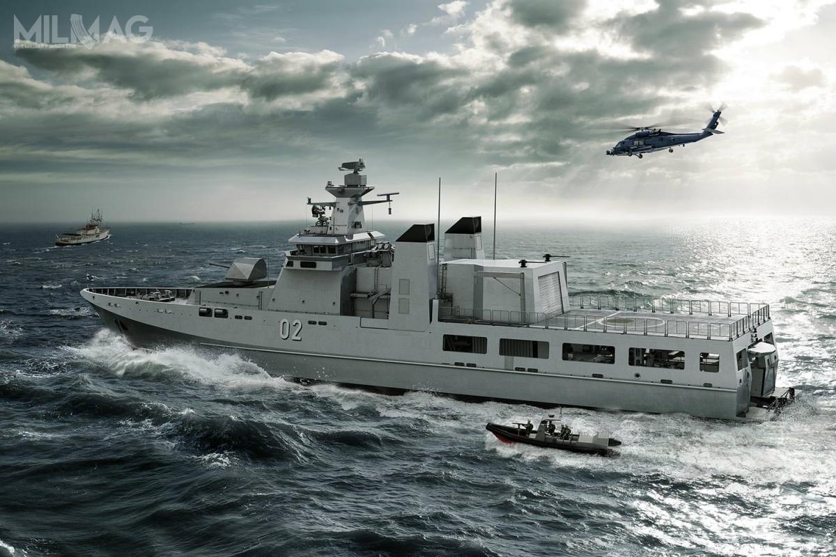 Nowe bułgarskie okręty patrolowe mają służyć przede wszystkim doochrony interesów państwa nawodach morza terytorialnego iwyłącznej strefy ekonomicznej. Ponadto, jednostki mają być przystosowane dozwalczania okrętów podwodnych (ZOP) inawodnych nieprzyjaciela orazobrony przeciwlotniczej krótkiego zasięgu. Patrolowce mają zostać uzbrojone wm.in.76-mm armatę morską OTO Melara 76/60 Compact, system obrony bezpośredniej OTO Melara Dart, rakietowe pociski przeciwokrętowe MBDA Exocet MM40 Block 3lub Saab RBS15 Mk.3, pociski przeciwlotnicze MBDA MICA lub RIM-162 Evolved Sea Sparrow Missile (ESSM) orazsystemy walki radioelektronicznej / Grafika: Lürssen