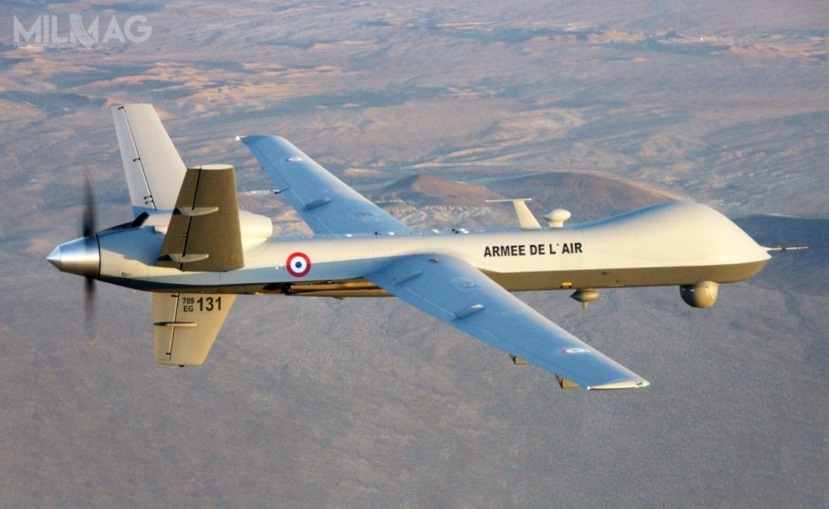 Wojska lotnicze Francji użytkują pięć MQ-9 Block 1weskadrze 01/033 Belfort. W2020 doodbioru ma być sześć kolejnych bsl tego typu, alewwersji Block 5, doktórejsą modernizowane starsze egzemplarze / Zdjęcie: Armée de l'air