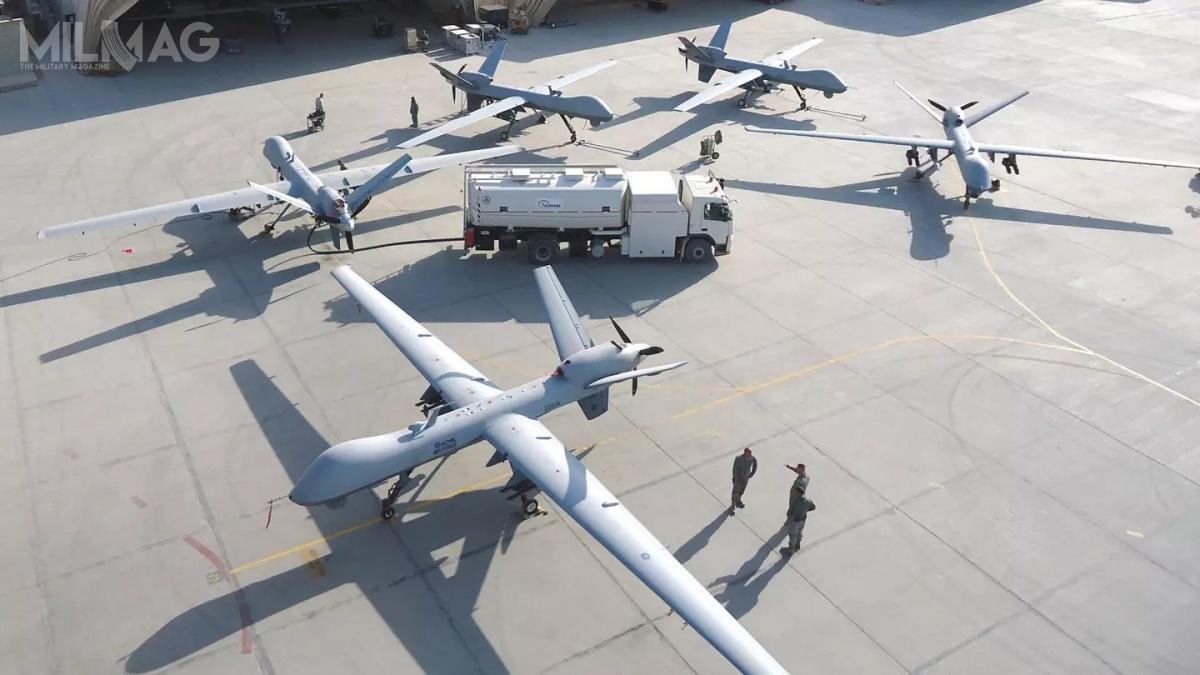 MQ-9 Reaper są nawyposażeniu USAF (Block 5), atakże Francji, Włoch iWielkiej Brytanii (Block 1). Kolejnymi użytkownikami zostaną Holandia iHiszpania / Zdjęcie: General Atomics Aeronautical Systems