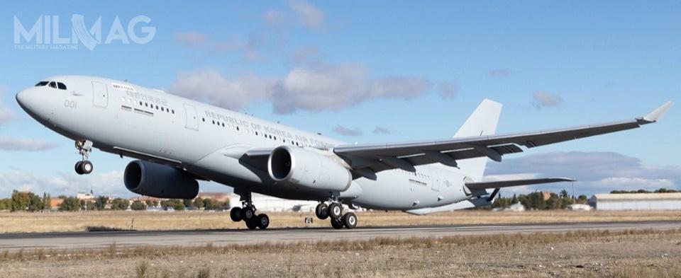 Airbus A330-200 MRTT otymczasowym numerze rejestracyjnym EC331 wylądował wwpołudniowokoreańskiej bazie lotniczej Gimhae (K1) wPusan. /Zdjęcie: Airbus