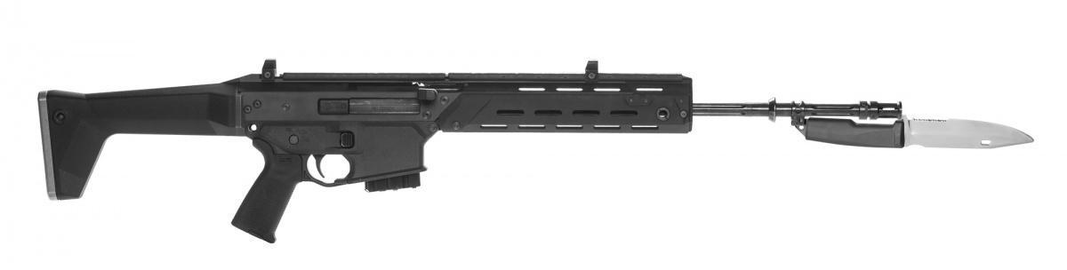 Straż Graniczna, jest kolejną formacją mundurową, poWojsku Polskim, Służbie Więziennej iPolicji, którawprowadzi dowyposażenia karabinki reprezentacyjne MSBS-5,56R. Broń dostosowana jest jedynie dostrzelania amunicją ćwiczebną (ślepą) 5,56 mm x 45. Tokonstrukcja pozbawiona automatyki, przeładowywana ręcznie idostarczana zmagazynkiem, nożem-bagnetem, pasem nośnym orazzapasową stopką kolby. /Zdjęcie: Fabryka Broni Łucznik-Radom