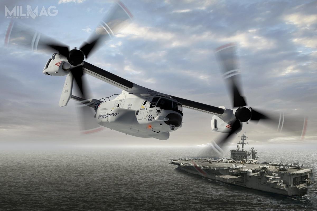 Dzięki aneksowi doumowy z2lipca 2018, US Navy począwszy od2021 będzie otrzymywać 39 zmiennowirnikowce Bell-Boeing CMV-22B Osprey, które otrzymają oznaczenie HV-22 inapotrzeby zamawiającego zostaną wyposażone wdodatkowe zbiorniki paliwa izestawy pozahoryzontalnej łączności HF / Grafika: Boeing