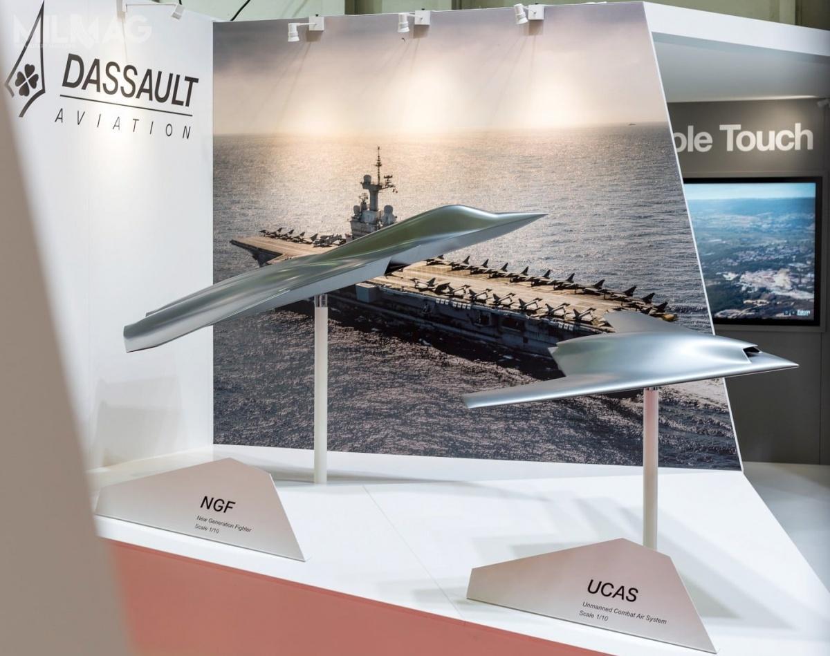 Na targach EuroNaval 2018, Dassault Aviation zaprezentował makiety samolotu bojowego New Generation Fighter wskali 1:10 ibsl Future Combat Air System.