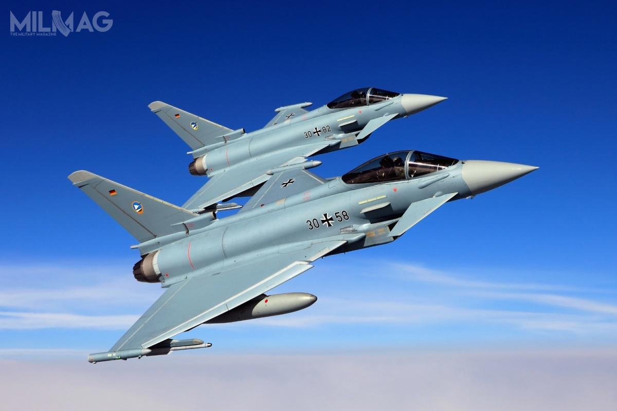 Luftwaffe dysponuje 137 Typhoonami wwersjach Tranche 1i2. 24 czerwca 2019 dwa znich zderzyły się wpowietrzu wpobliżu bazy lotniczej Rostock-Laage wMeklemburgii-Pomorzu Przednim / Zdjęcie: Luftwaffe