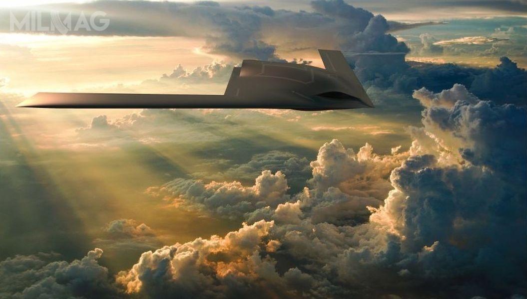 Zgodnie zzaprezentowaną koncepcją, bojowo-rozpoznawczy bezzałogowiec nowej generacji będzie samolotem oobniżonej sygnaturze radarowej, zbudowany wukładzie bezogonowym, tzw. skrzydła rozmytego (blended wing body). / Grafika: GA-ASI