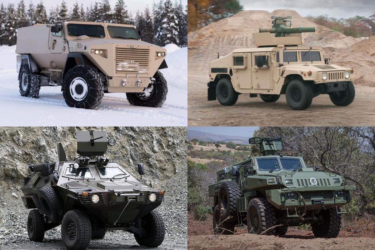Do drugiego etapu postępowania nalekkie iśrednie pojazdy opancerzone dla łotewskich sił zbrojnych zakwalifikowano cztery oferty. Nagórze odlewej: GTP 4×4 iHMMWV M1167. Nadole odlewej: Cobra iMarauder LAV. / Zdjęcia: Sisu Auto, AM General, Otokar, Paramount Group