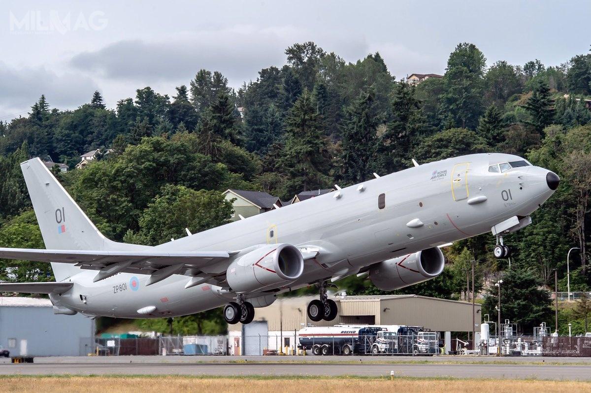 Pierwsze fotografie Poseidon MRA Mk1 (ZP801) podczas przygotowań dooblotu pojawiły się 23 czerwca. Kadłub, przeznaczony domontażu końcowego, dotarł dozakładów Boeinga 25 kwietnia zWichity wstanie Kansas, gdzie znajduje się montownia Spirit AeroSystems.