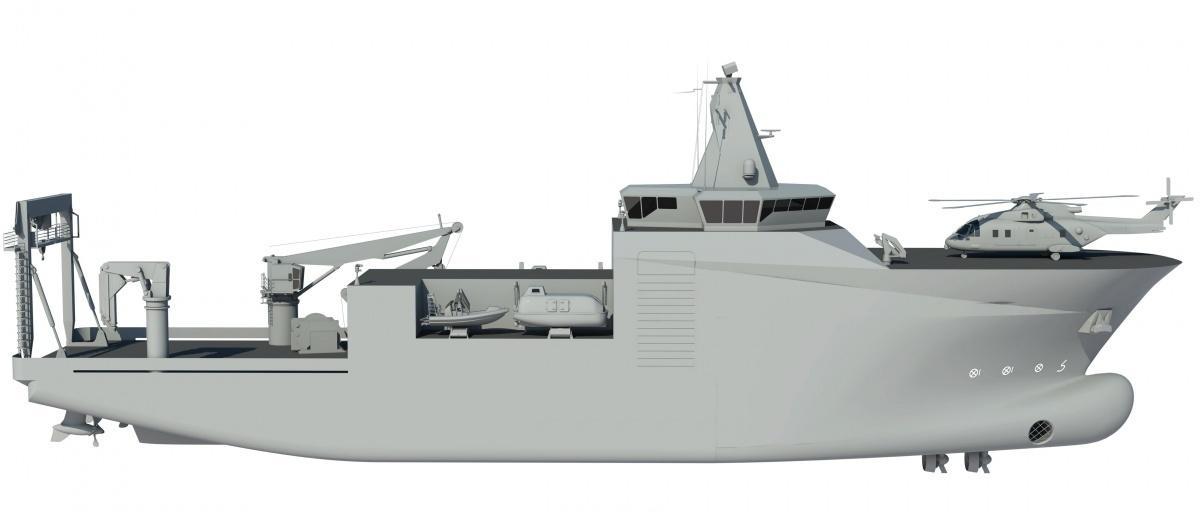 Okręt typu Ratownik ma służyć doratowania życia załóg uszkodzonych okrętów podwodnych, wydobywania zatopionej techniki wojskowej, gaszenia pożarów jednostek pływających orazwykonywania zabiegów dezaktywacji idezynfekcji wprzypadku użycia broni masowego rażenia. Zostałby wyposażony wspecjalistyczny sprzęt donurkowania, dekompresji uratowanych załóg, bezzałogowe pojazdy podwodne, systemy gaśnicze, dezaktywacji idezynfekcji orazkompleks medyczny / Grafika: Ship Design & Marine Consulting